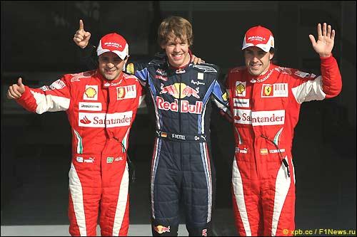 Победитель квалификации в Бахрейне 2010 - Себастьян Феттель и пилоты Ferrari