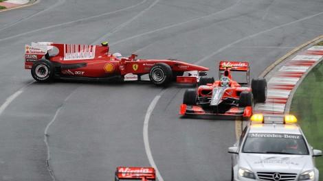 Фернандо Алонсо после контакта с Дженсоном Баттоном. Гран При Австралии 2010